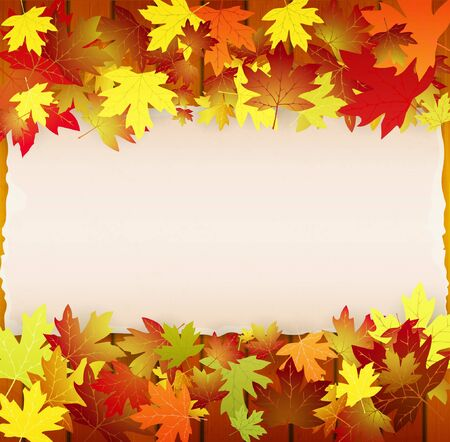 Autumn background with leaves, wood boards and cardboard banner Stock Vector - 15139044