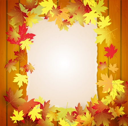 Autumn background with leaves, wood boards and cardboard banner Vector