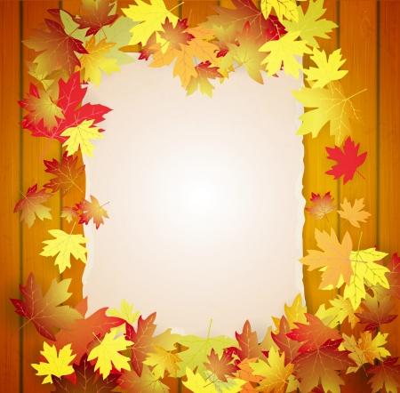 Herfst achtergrond met bladeren, hout planken en karton banner Stock Illustratie