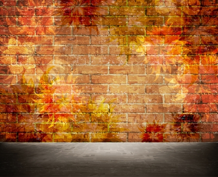 cracked wall: Aged wall background with floral texture