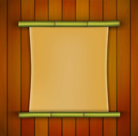 Bamboo frame with parchment banner on the wooden background Vector