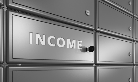 safety box: bank deposit cell with lettering income, business safety concept Stock Photo