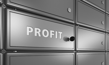safety box: bank deposit cell with lettering profit, business safety concept Stock Photo