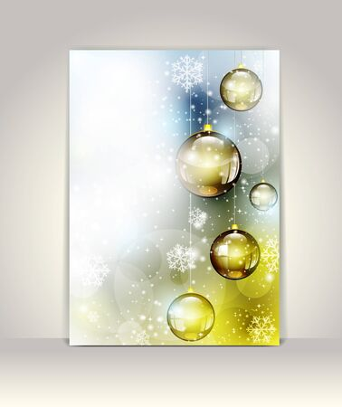 Christmas greeting card with glass balls Stock Vector - 16724423