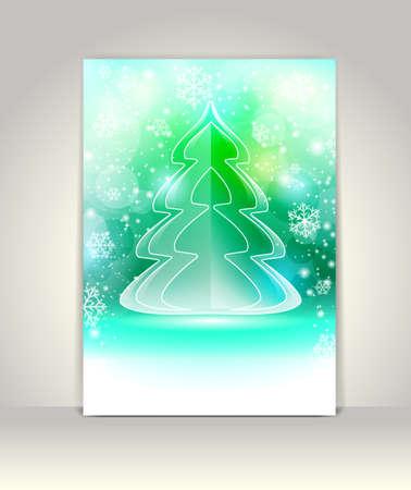 Christmas greeting card with glass Christmas tree Stock Vector - 16724417