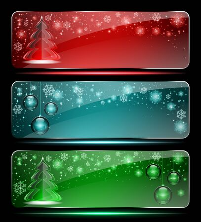 Set of Christmas glass banners