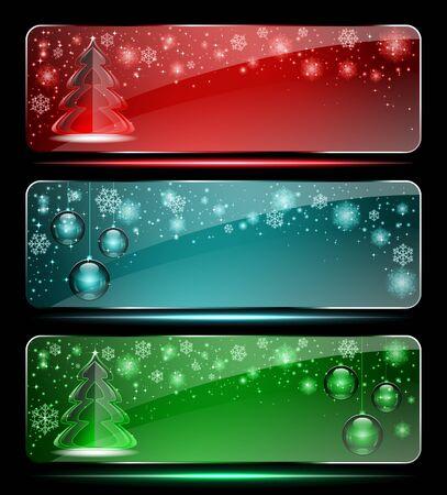 Set van Kerst glas banners