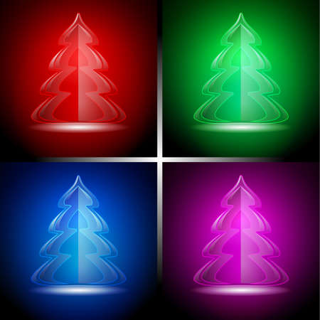 plain postcards: Abstract glass xmas tree icons in four color Illustration