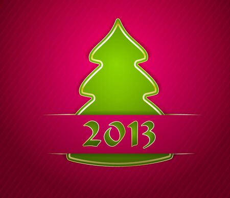 Stylized Christmas tree made of applique paper Stock Vector - 16724428