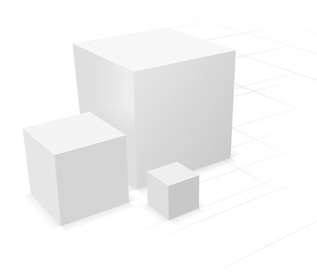 3d abstrakt, drei Würfel auf weißem Hintergrund mit Gitter Vektorgrafik