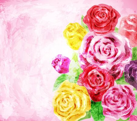 flowers background: Painted flower background, vector illustration