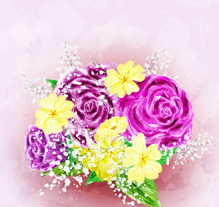 Painted flower background, vector illustration Stock Vector - 17701875