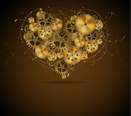 metal gears: Abstract mechanical heart with floral elements, vector illustration