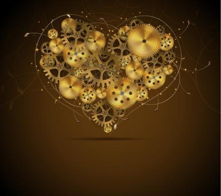 Corazón abstracto mecánico con elementos florales, ilustración vectorial