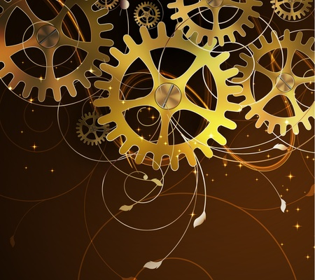 gears concept: Abstract mechanical background with floral elements Illustration