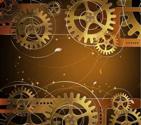 maquina de vapor: Fondo abstracto mecánico con elementos florales, ilustración vectorial Vectores
