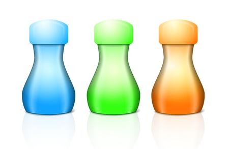 liquid reflect: plastic bottle for shampoo or cream in three colors Illustration