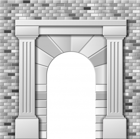 rock arch: Entrance with arch, vector monochrome template