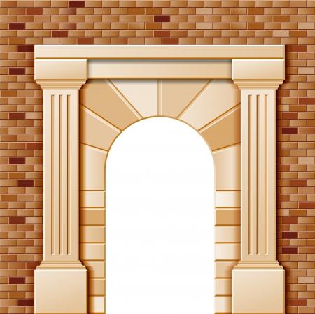 arcos de piedra: Entrada con arco, vector plantilla de color