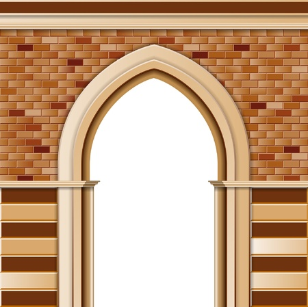 stone arch: Entrance with arch, vector colored template