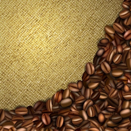 çuval bezi: Kahve çekirdekleri ile çuval arka plan Çizim