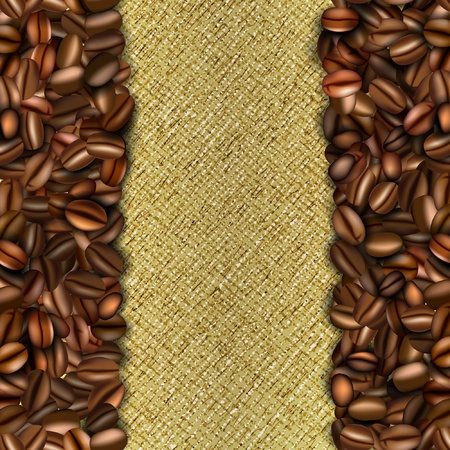 coffee sack: Burlap background with coffee beans