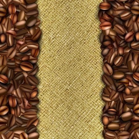 çuval bezi: Kahve çekirdekleri ile çuval bezi arka plan