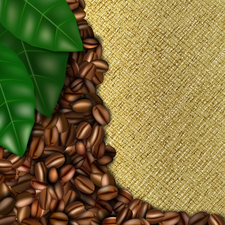 coffee sack: Burlap background with coffee beans and leaves Illustration