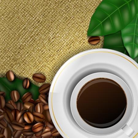 çuval bezi: Kahve çekirdekleri, yaprakları ve kahve fincan çuval arka plan Çizim