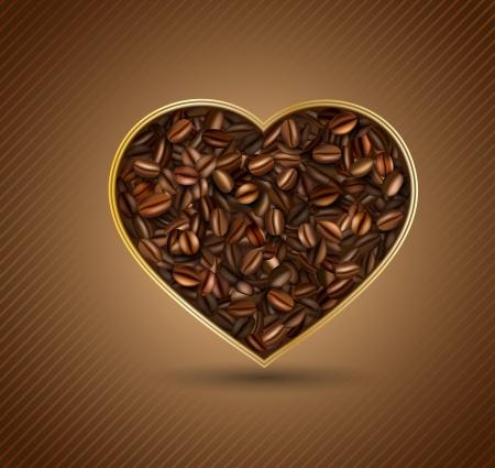 corazon: Corazón de los granos de café Vectores