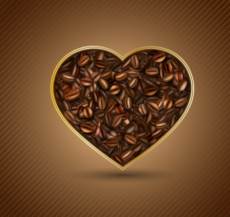 Heart from coffee beans Stock Vector - 21774513
