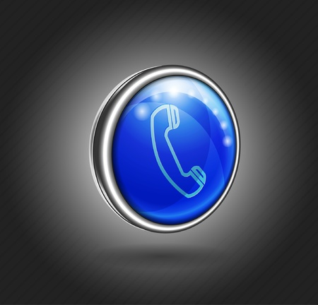 3d icon blue glass with metal shell, phone Stock Vector - 21774518