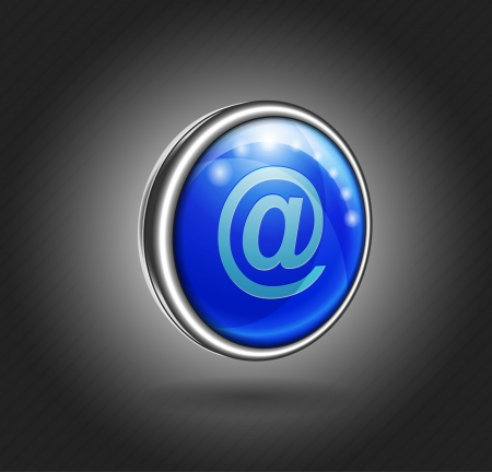 3d icon blue glass with metal shell, email Vector