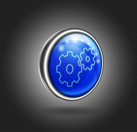 3d icon blue glass with metal shell, gear Vector