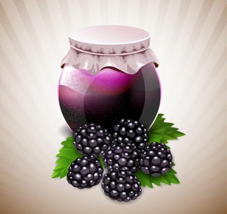 confiture: jar of jam with blackberry and leaves Illustration