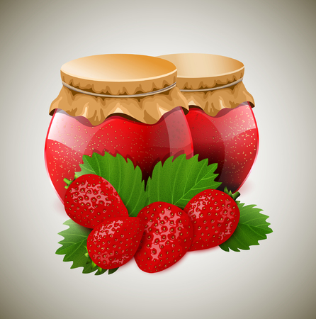 ccloseup: Two jar of jam with strawberry and leaves