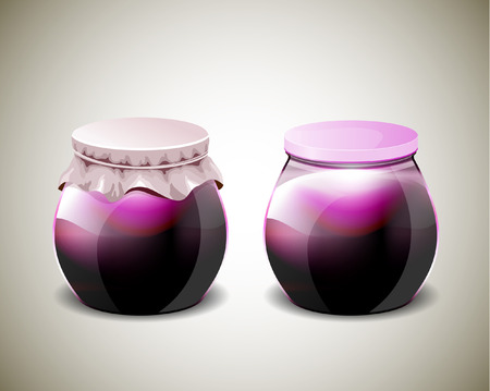 ccloseup: Two jar of jam with plastic and paper cap