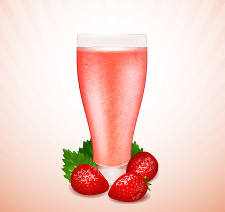Strawberry smoothie with berries and leaves Vector
