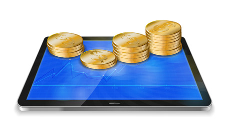 stockmarket chart: Tablet pc with business graph and golden coin isolated on white background