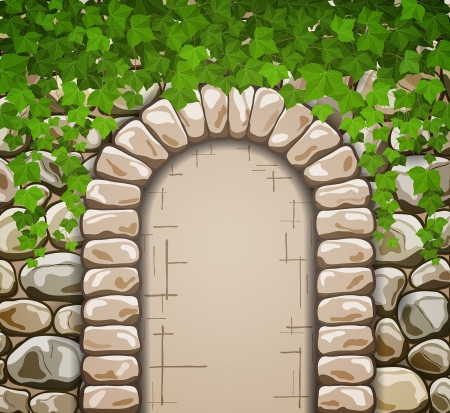 stone arch: Stone wall with medieval arch and leaves Illustration