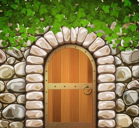 아치 중세 나무로되는 문 및 잎 돌 벽