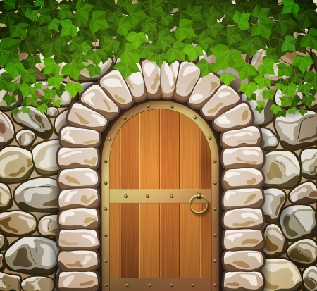 Stone wall with arched medieval wooden door and leaves Vector
