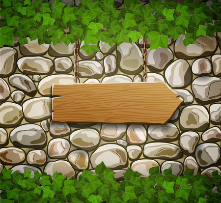 Stone wall with wooden arrow and leaves Vector