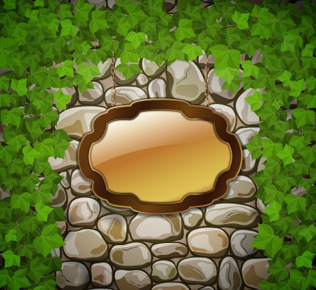 stone arch: Stone wall with wooden shield and leaves