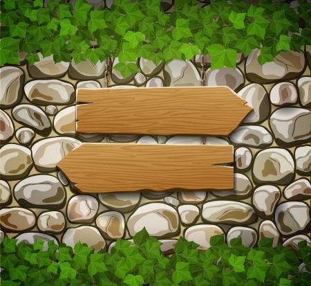 Mur en pierre avec deux flèches et les feuilles de bois Banque d'images - 24499083