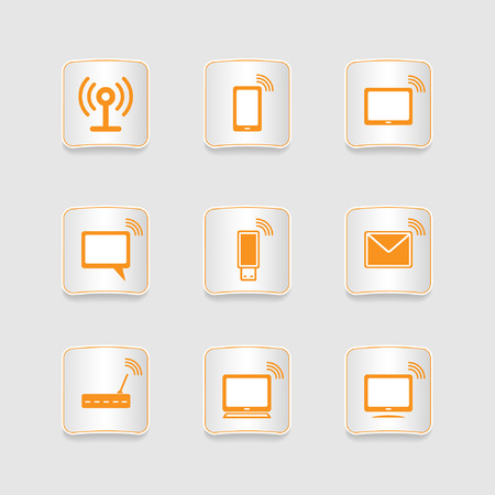 Paper icons set, wireless connection Vector