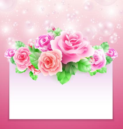 papier banner: Glowing Hintergrund mit Rosen- Blasen und Papier Banner Illustration