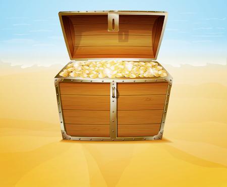 cofre del tesoro: Cofre del tesoro en una playa tropical