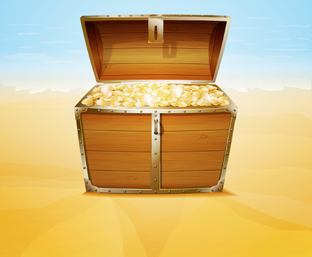treasure chest: Treasure chest on a tropical beach