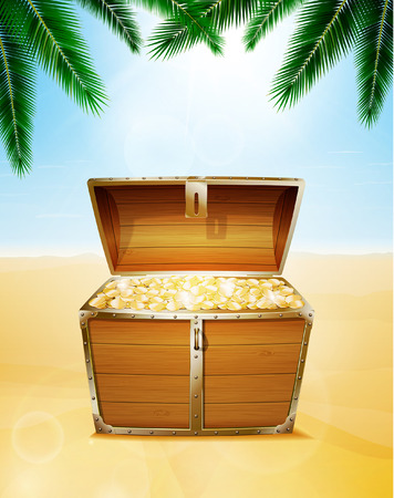 Treasure chest on a tropical beach with palm trees Ilustrace
